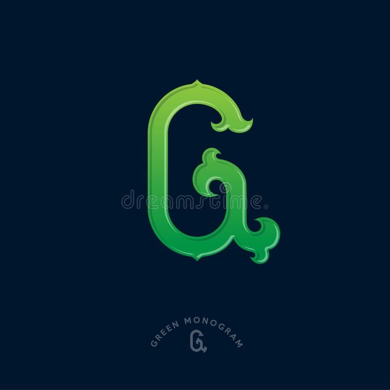 Monogramma di G La pendenza verde G segna l'iniziale con lettere Iniziale dell'annata royalty illustrazione gratis