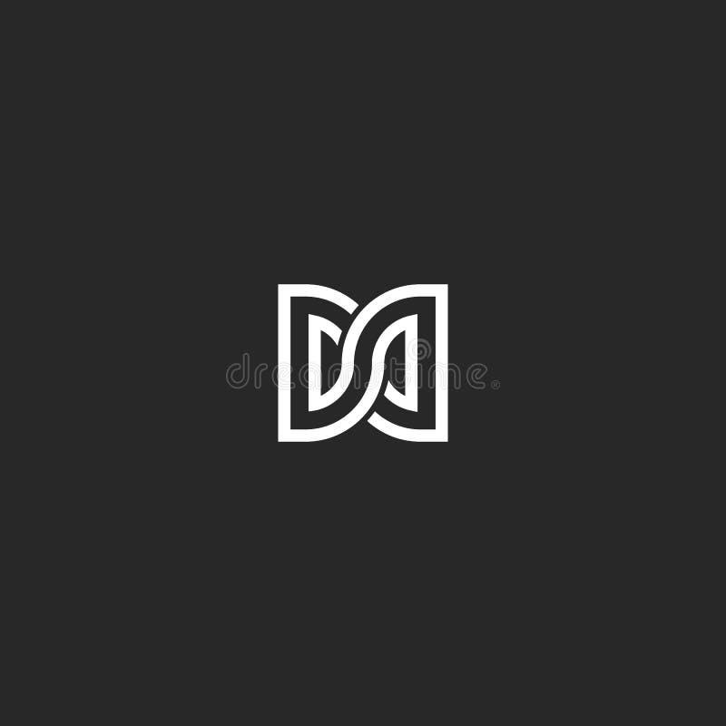 Monogramma di logo di due delle lettere iniziali di DD, lettere D di combinazione e simbolo di forma di infinito del segno di D illustrazione di stock