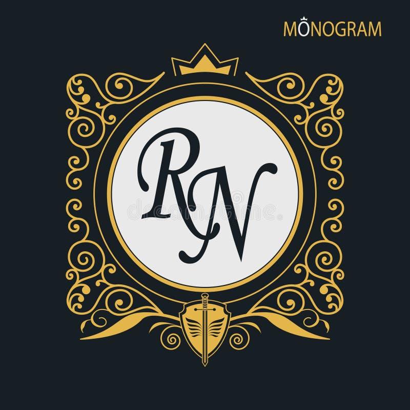 Monogramma dorato di vettore Struttura decorativa lussuosa Linee eleganti di ornamento calligrafico Fondo scuro illustrazione di stock