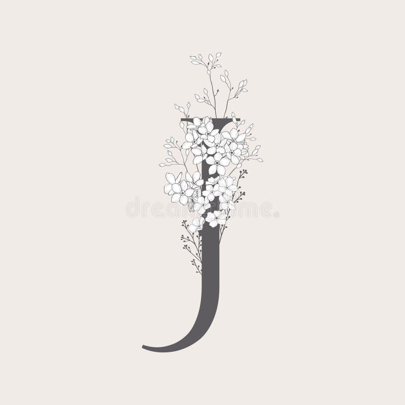 Monogramma e logo iniziali floreali di fioritura di vettore J illustrazione vettoriale