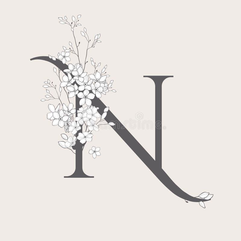 Monogramma e logo iniziali floreali di fioritura di vettore N illustrazione vettoriale