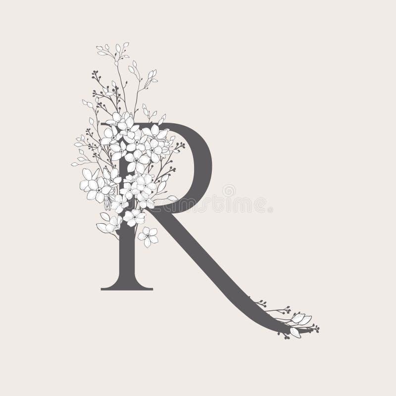 Monogramma e logo iniziali floreali di fioritura di vettore R illustrazione vettoriale