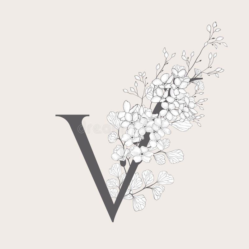 Monogramma e logo iniziali floreali di fioritura di vettore V illustrazione di stock