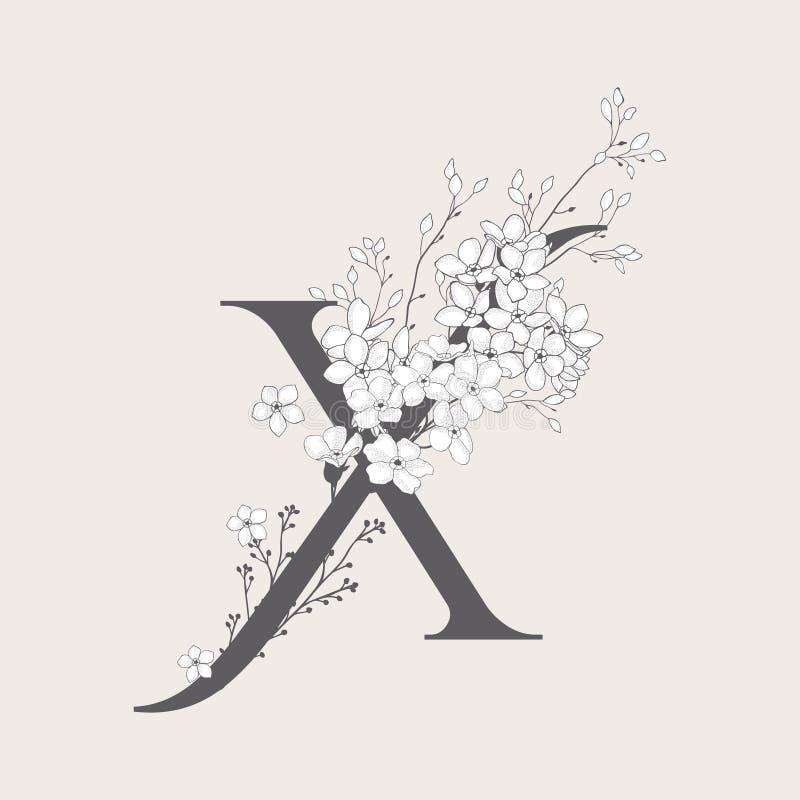 Monogramma e logo iniziali floreali di fioritura di vettore X illustrazione vettoriale