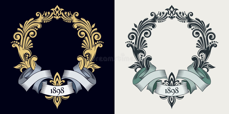 Monogramma ed iniziali di vettore Struttura decorativa dorata Retro nastro Invito di cerimonia nuziale Linee eleganti di ornament illustrazione vettoriale