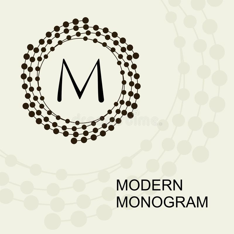Monogramma moderno premio, emblema, logo con una spirale concettuale della corona illustrazione di stock