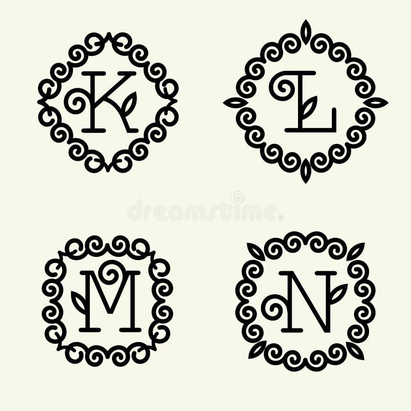 Monogrammart linear mit den Buchstaben k, L, m, n stock abbildung