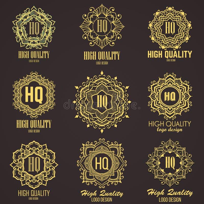 Monogramme élégant d'or Conception de calibre pour le monogramme, label, logo, emblème photographie stock libre de droits