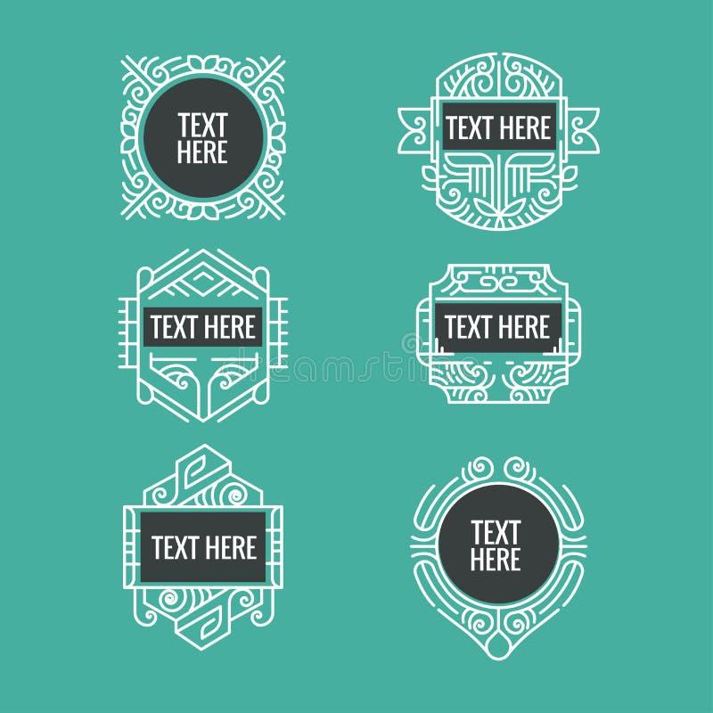 Monogramme, cadre, frontière, insigne, label, crête, ou vintage géométrique Insigni de vecteur de vintage de hippie minimal de lu image stock
