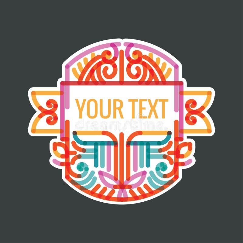 Monogramme, cadre, frontière, insigne, label, crête, ou vintage géométrique Insigni de vecteur de vintage de hippie minimal de lu image libre de droits