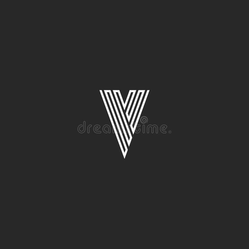 Monogramme d'initiale de lettre de logo de V, ligne mince idée minimale noire et blanche d'emblème de carte de visite professionn illustration libre de droits