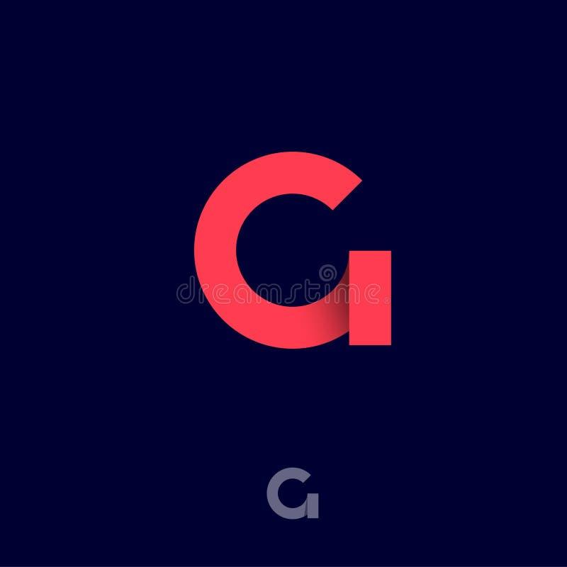 Monogramme d'origami de G Les rubans rouges aiment l'initiale de la lettre G Icône de réseau illustration libre de droits