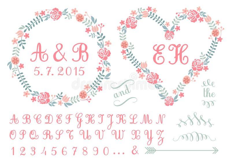 Monogramme dans les cadres floraux, ensemble de vecteur illustration stock