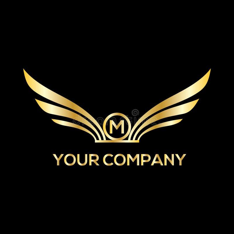 Monogramme de la lettre M Luxury de logo de vecteur d'ailes illustration de vecteur