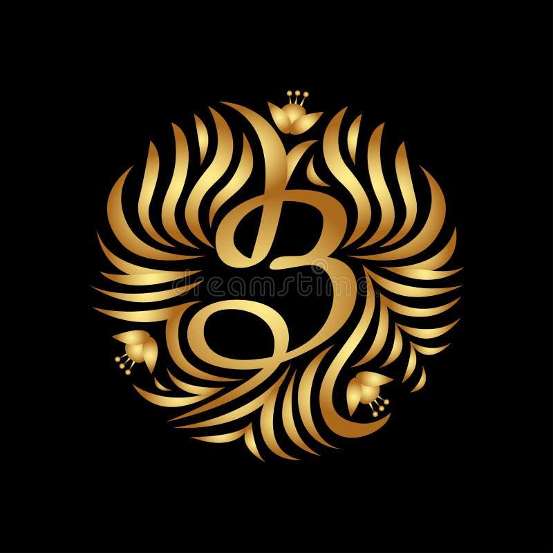 Monogramme de lettre de B dans la couleur d'or Vintage de luxe de boutique illustration libre de droits