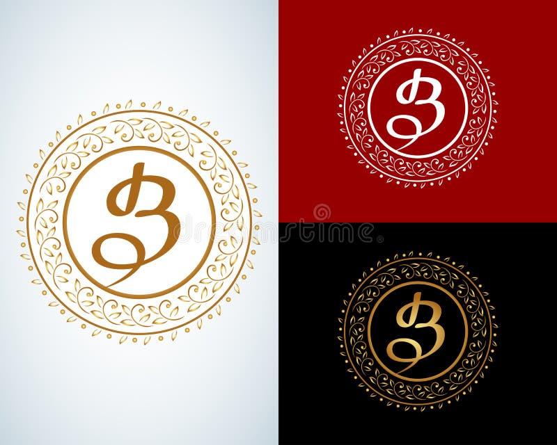 Monogramme de lettre de B Vintage de luxe de boutique illustration libre de droits