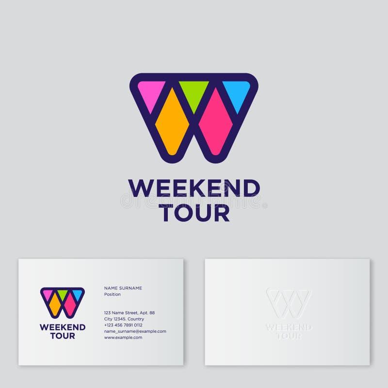 Monogramme de lettre de mosaïque de W Logo de voyage de week-end Lettre colorée de W sur un fond noir illustration stock