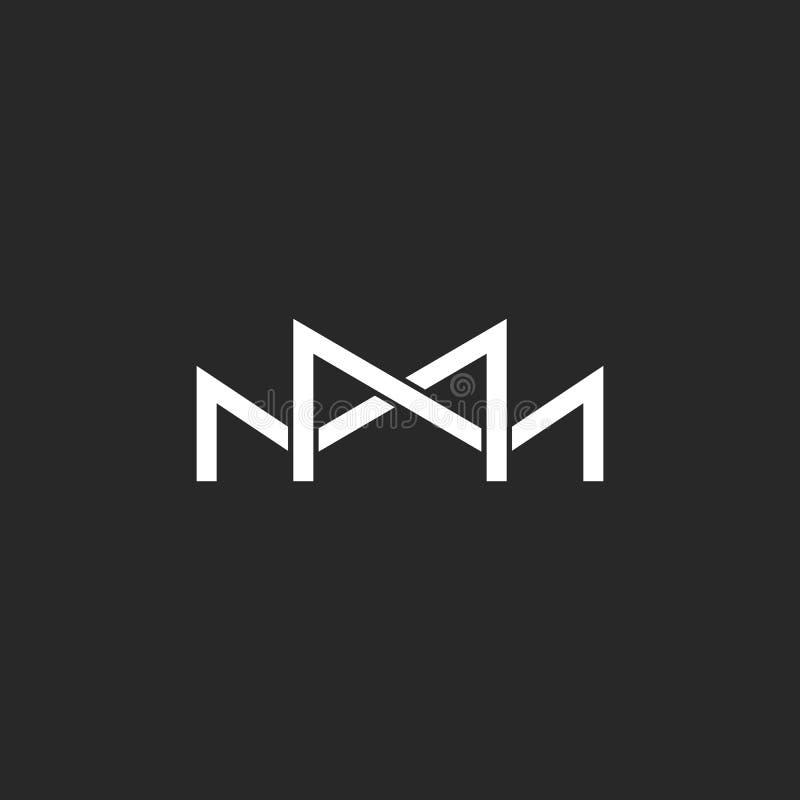 Monogramme de logo de M, deux ou trois ligne mince de recouvrement lettres, emblème noir et blanc d'invitation de mariage de maqu illustration stock