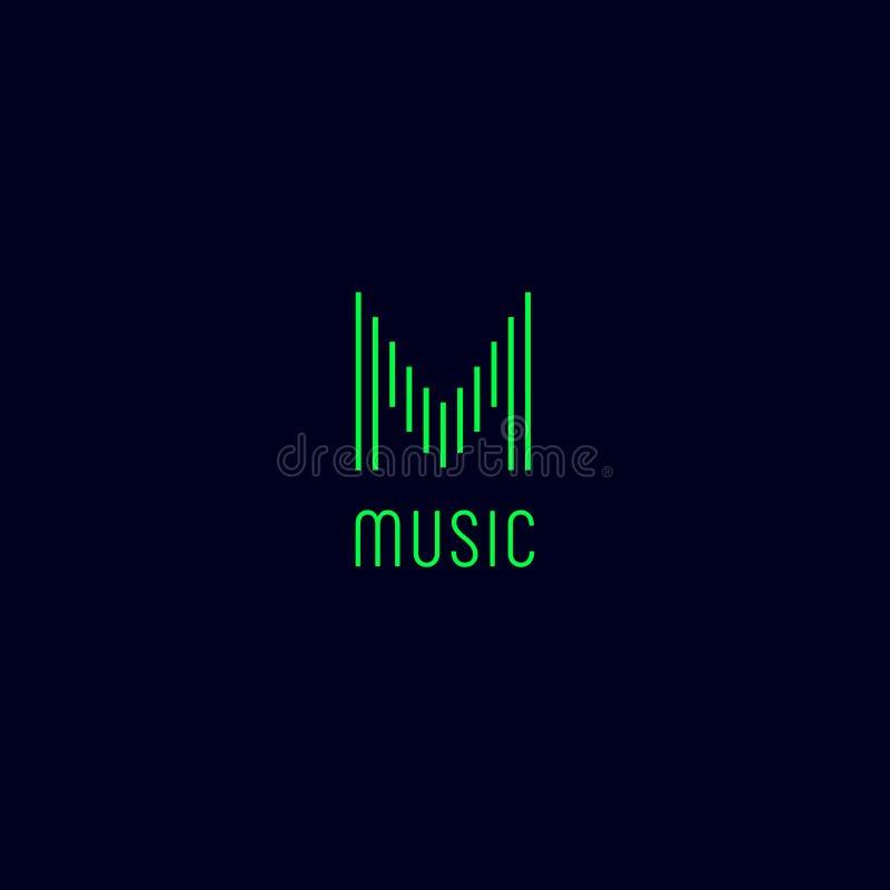Monogramme de M Logo de musique La lettre verte M aiment l'égaliseur illustration libre de droits