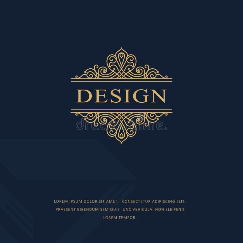 Monogramme de symboles graphiques à traits Conception de logo d'art élégant emblème Calibre gracieux illustration libre de droits