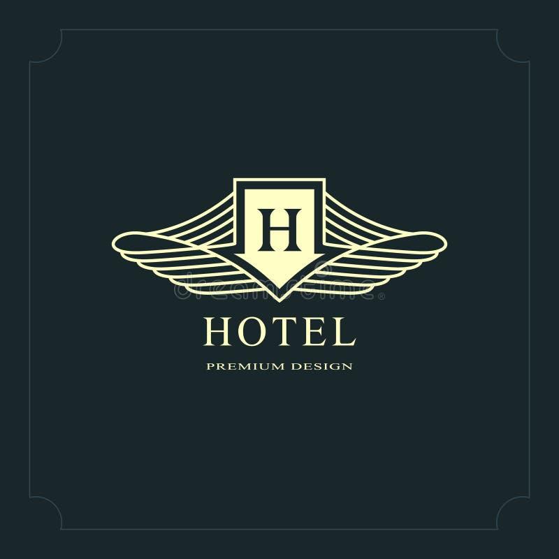 Monogramme de symboles graphiques à traits Conception de logo d'art élégant Lettre H Calibre gracieux Signe d'affaires, identité  illustration stock