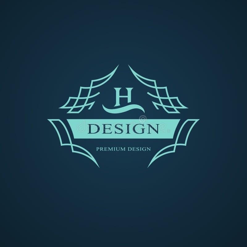 Monogramme de symboles graphiques à traits Conception de logo d'art élégant Lettre H Calibre gracieux Signe d'affaires, identité  illustration libre de droits