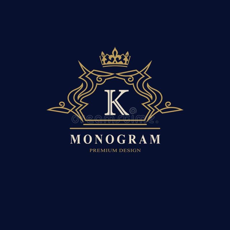 Monogramme de symboles graphiques à traits Conception de logo d'art élégant Lettre K Calibre gracieux Signe d'affaires, identité  illustration libre de droits