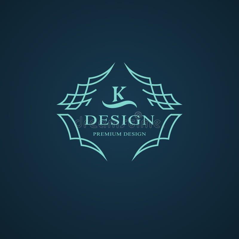 Monogramme de symboles graphiques à traits Conception de logo d'art élégant Lettre K Calibre gracieux Signe d'affaires, identité  illustration de vecteur