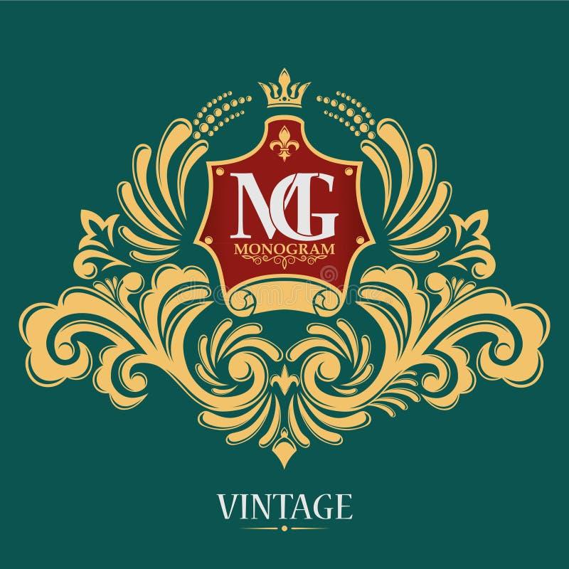 Monogramme de vecteur de vintage Le logo élégant passé d'emblème pour des restaurants, des hôtels, des barres et des boutiques illustration libre de droits