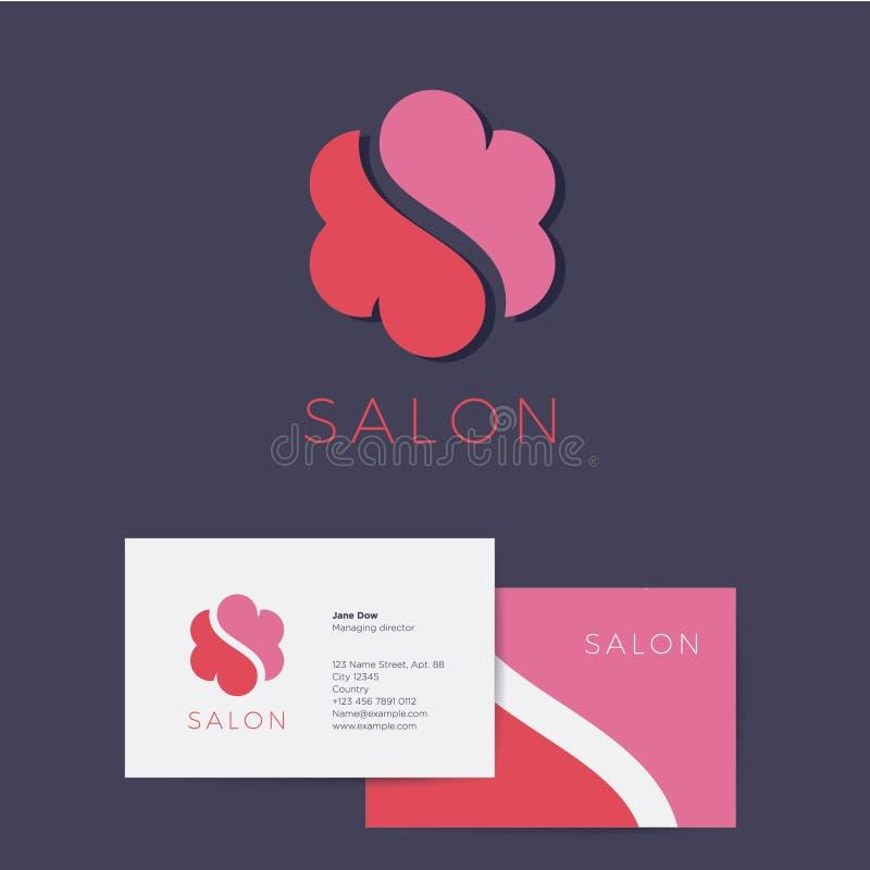 Monogramme et identité de S Logo de fleur ou de nuage de S Carte de visite professionnelle de visite sur un fond foncé illustration libre de droits