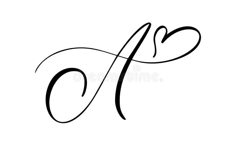 Monogramme floral A de lettre de cru de vecteur L'?l?ment de calligraphie s'?panouissent Signe tiré par la main pour la décoratio illustration stock