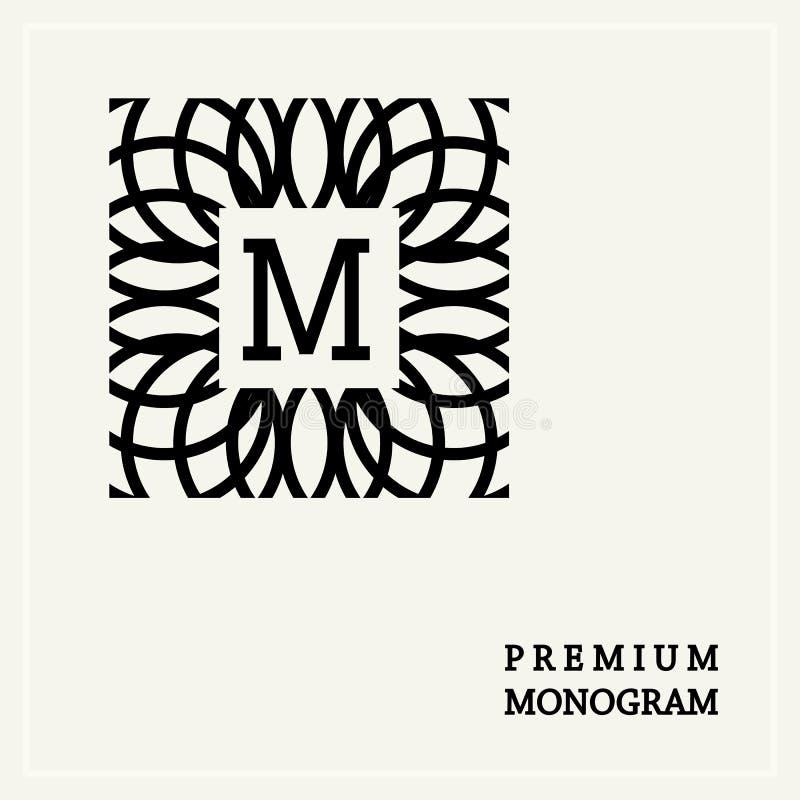 Monogramme gracieux élégant en style d'Art Nouveau illustration libre de droits