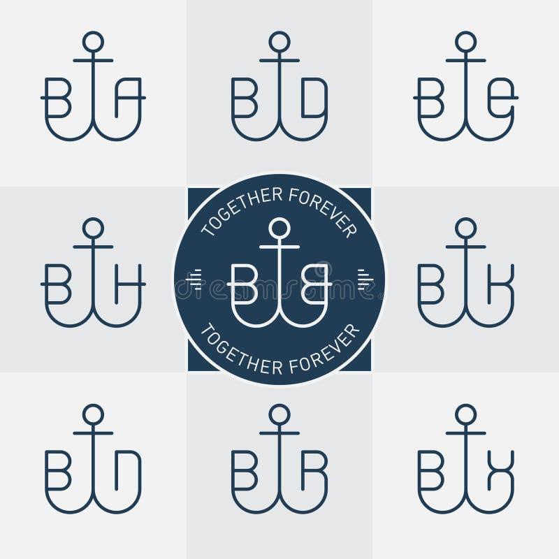 Monogrammen of logotype met anker en brieven Vectorlijnpictogrammen stock illustratie