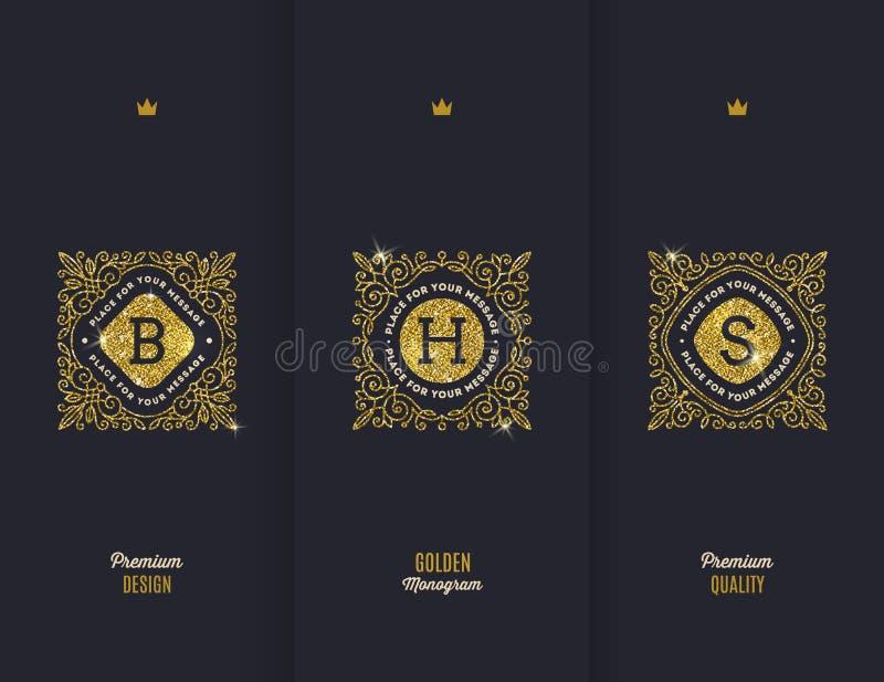 Monogrammes d'or de scintillement illustration stock