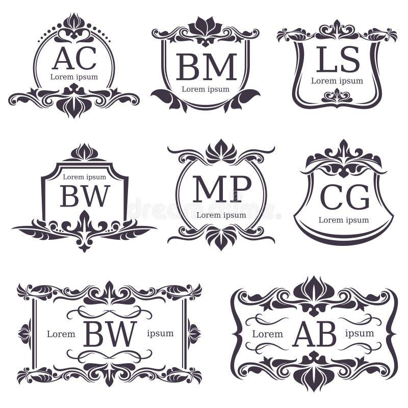 Monogrammes de luxe de logo avec les éléments et les lettres décoratifs d'ornement Ensemble de vecteur illustration de vecteur