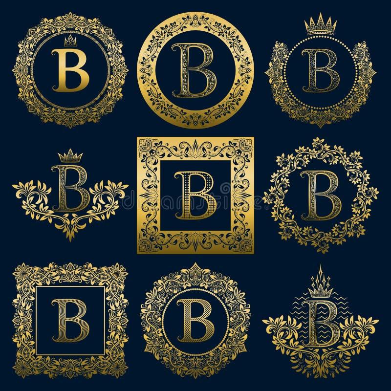 Monogrammes de vintage réglés de la lettre de B Logos héraldiques d'or dans les guirlandes, en rond et les cadres carrés illustration stock