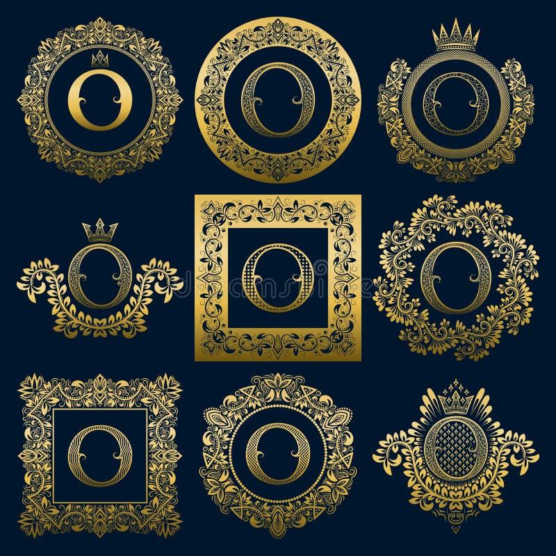 Monogrammes de vintage réglés de la lettre d'O Logos héraldiques d'or dans les guirlandes, en rond et les cadres carrés illustration de vecteur