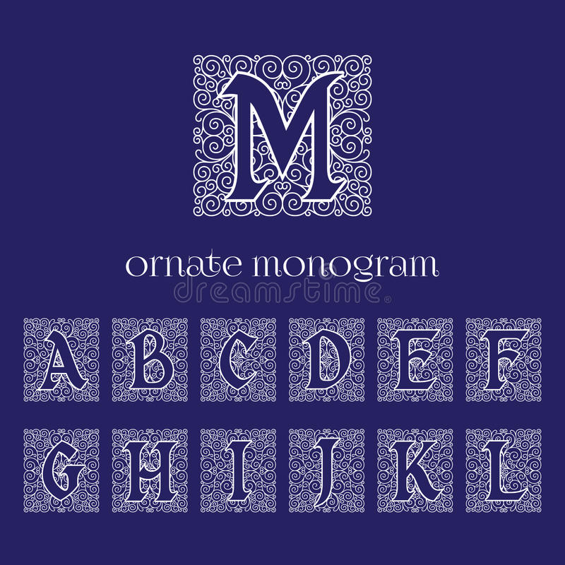 Monogrammes fleuris illustration stock