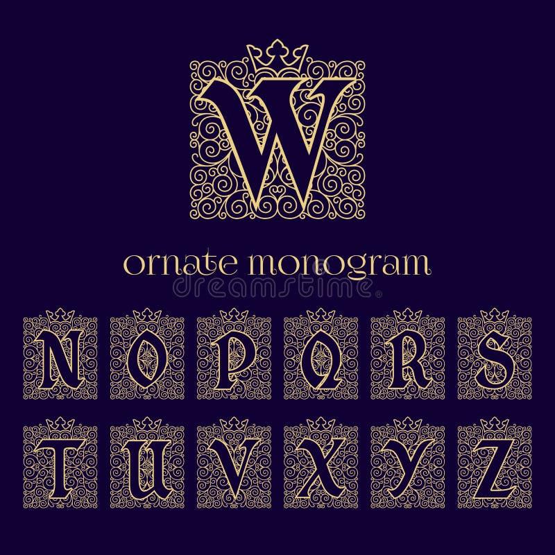 Monogrammes fleuris avec la couronne illustration libre de droits