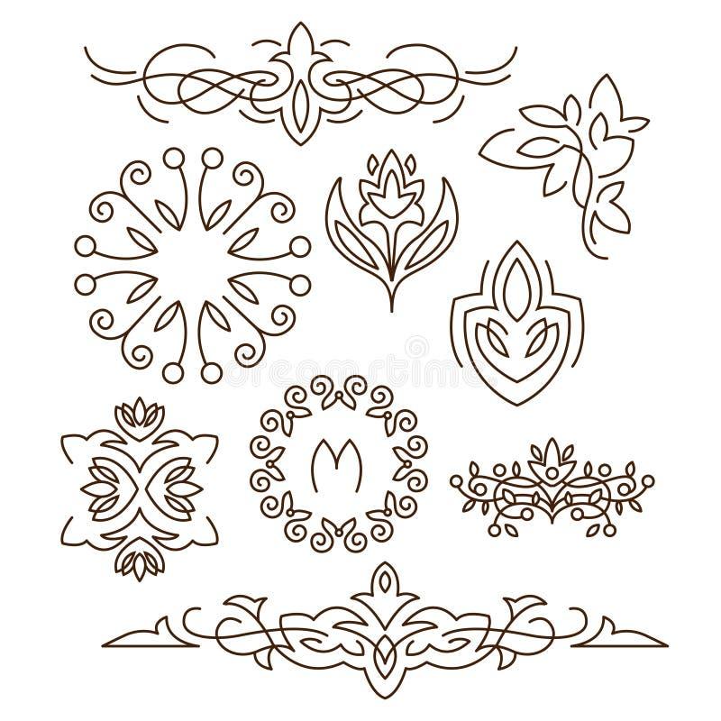 Monogrammes, ligne éléments de conception pour des logos, cadres illustration stock