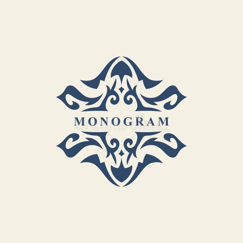 Monogrammgestaltungselemente, würdevolle Schablone Abstraktes Formular Kalligraphische elegante Linie Kunstlogodesign Emblemzeich stock abbildung