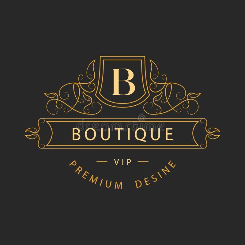 Monogrammgestaltungselemente, würdevolle Schablone Elegante Linie Kunstlogodesign Geschäftszeichen, Identität für Restaurant, Abg stock abbildung