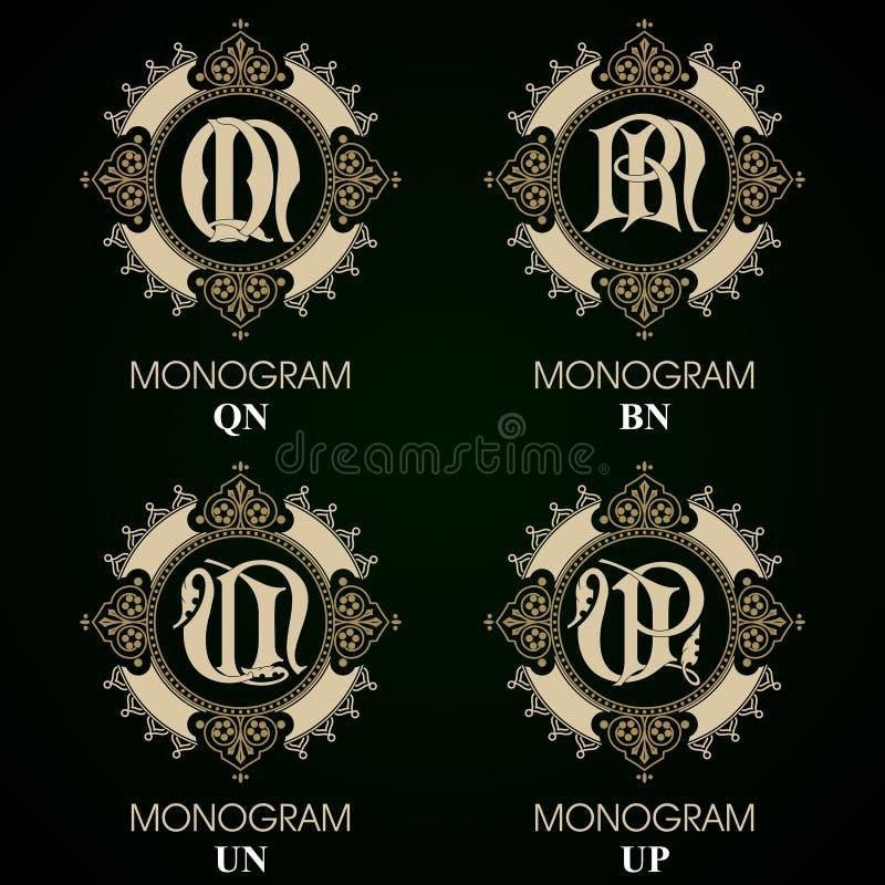 Monogrammi d'annata - 4 insiemi royalty illustrazione gratis