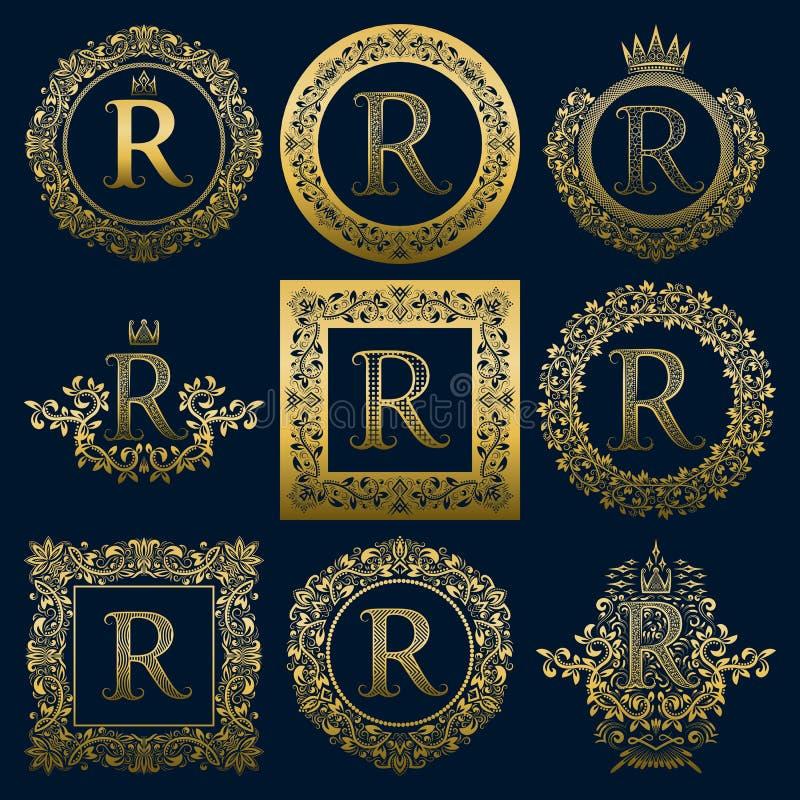 Monogrammi d'annata messi della lettera della R Logos araldico dorato in corone, in tondo e nei telai quadrati royalty illustrazione gratis