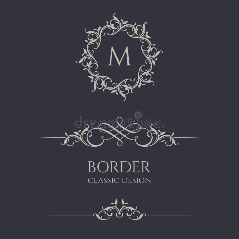 Monogrammi e confini floreali illustrazione di stock