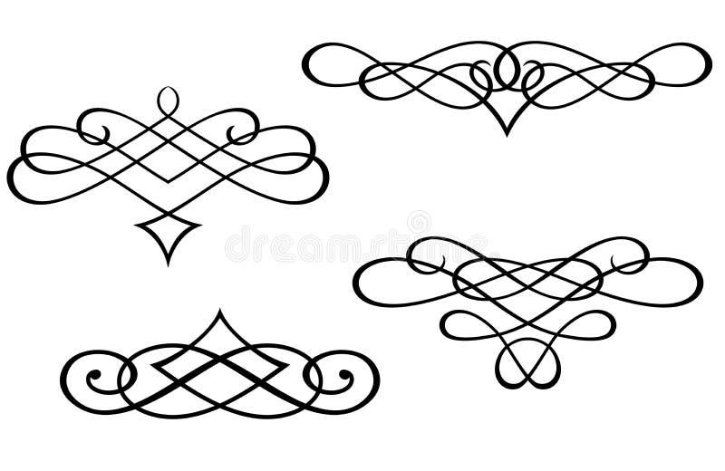 Monogrammi ed elementi di turbinio illustrazione vettoriale