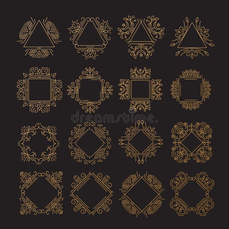 Monogramms com ornamento florais ilustração royalty free