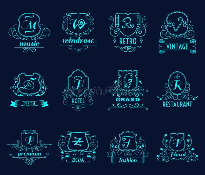 Monogramskölduppsättning stock illustrationer