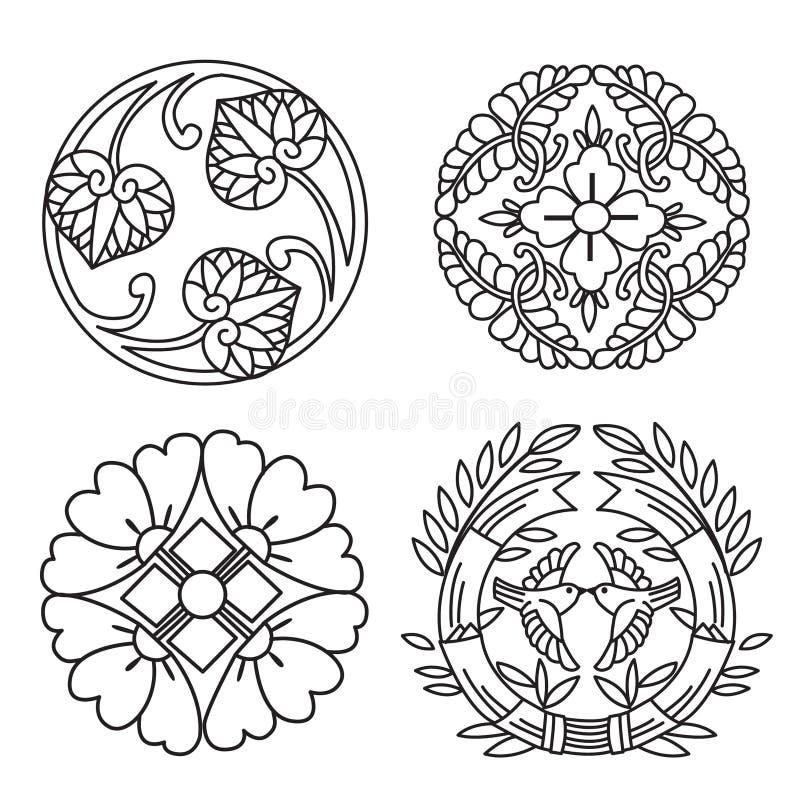 monogramy Kreskowi projektów elementy Dla loga Kreskowi projektów elementy dla ram Kreskowi projektów elementy Dla granic Japonia royalty ilustracja