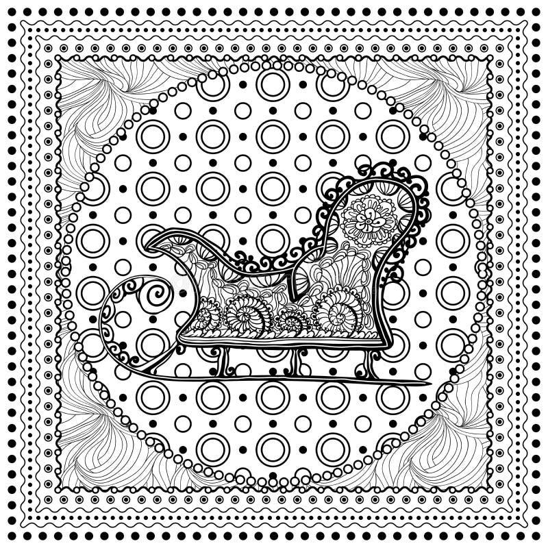 Monoillustration des schwarzen Vektors farbfür frohe Weihnachten lizenzfreie abbildung